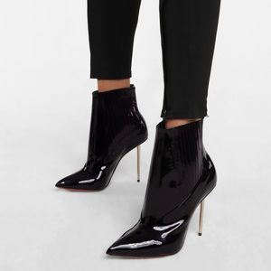 LOUBOUTIN Epic 100 patent leather ankle bootie 37